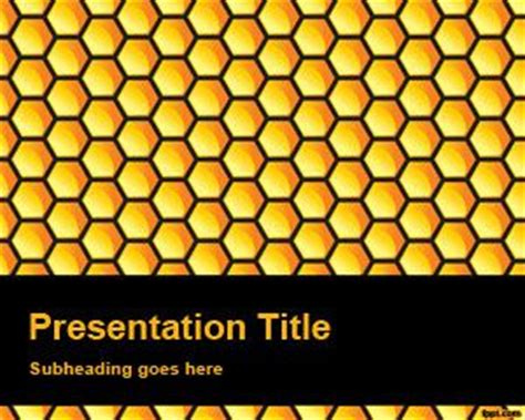 Free Honeycomb Powerpoint Background With Yellow Bee Powerpoint Template