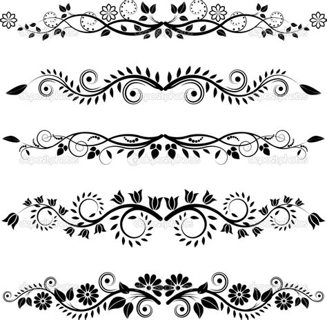 pattern line border image detail for floral borders and ornaments stock