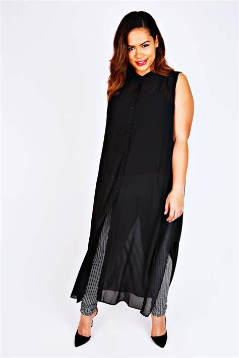 Denada Button Maxi F A black maxi length button sleeveless shirt plus size 14 to 32