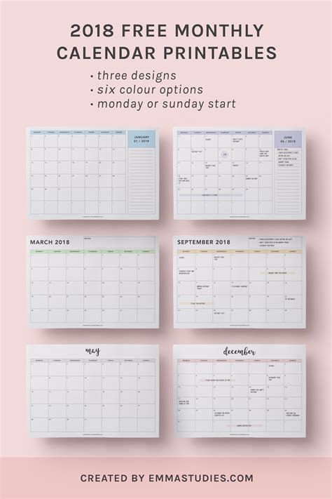 printable monthly planners 2018 2018 monthly free printable calendars by emmastudies