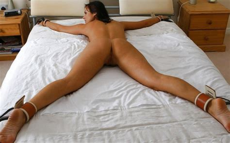 Spread Eagle Tied Up In Bed