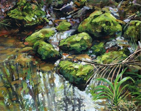 Jungle Duvet Rock Moss Reflections Painting By Ric Castro