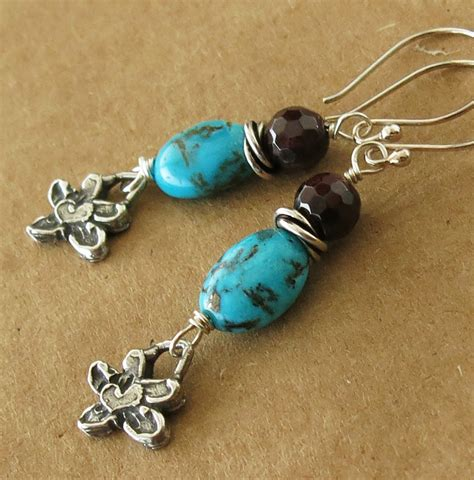 Handmade Jewllery - handmade bisbee turquoise and garnet earrings