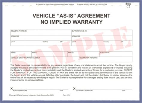 as is warranty form ids forms supplies required forms