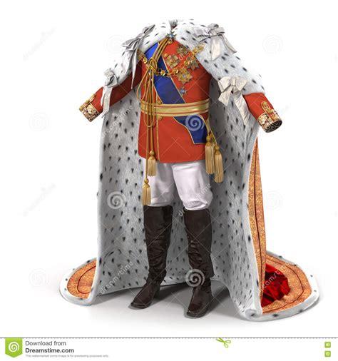royal king royal king costume on white 3d illustration stock
