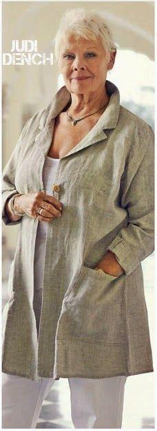 judi dench on beating failing eyesight bad knees and kasbah charcoal cream linen stripe jacket linen love