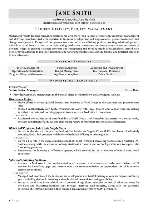 Project Manager Resume by Project Management Resume Sles Awesome Senior Project
