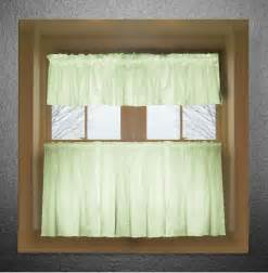 light green color tier kitchen curtain two panel set
