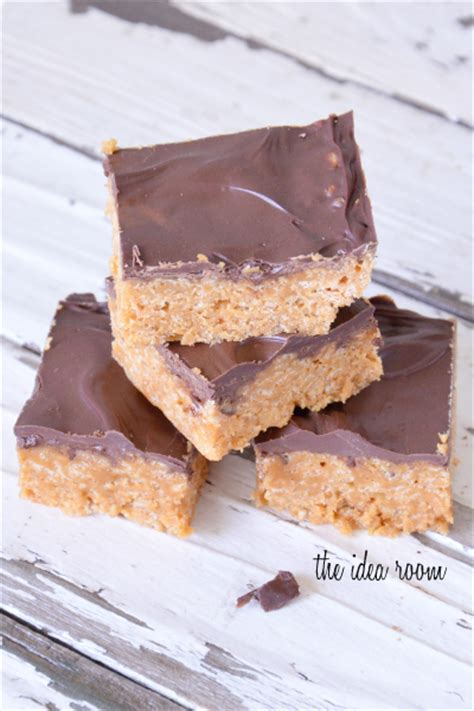 rice crispy bars with chocolate on top peanut butter rice krispie treats