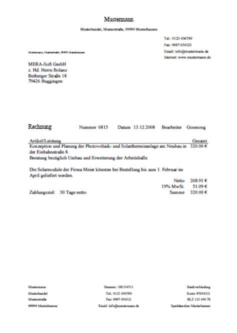 Rechnung Dienstleistung Freiberufler Presse