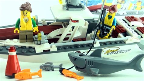 lego city fishing boat speed build lego fishing boat with shark 60147 lego city motor boat