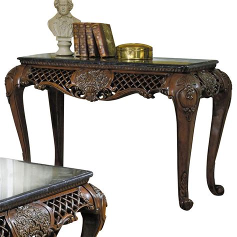 Homelegance Gladstone Rectangular Sofa Table With Black Marble Top Sofa Table