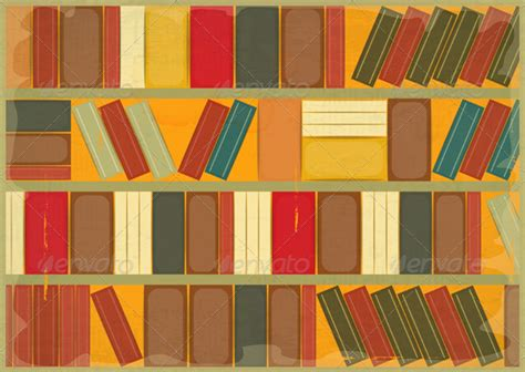 Decorative Bookcase Book Background Retro Style By Elfivetrov Graphicriver