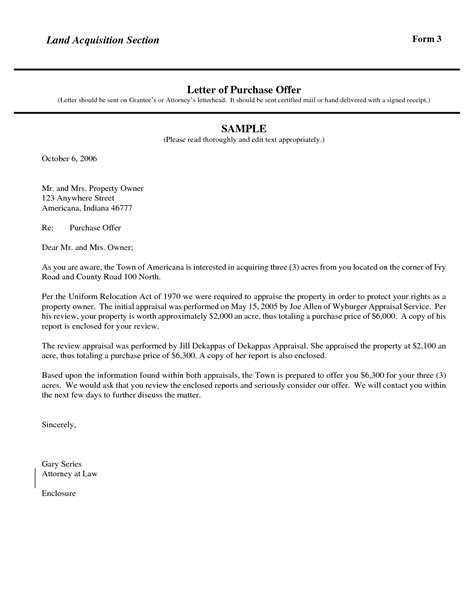letter of intent to purchase property template letter of intent to purchase land template exles