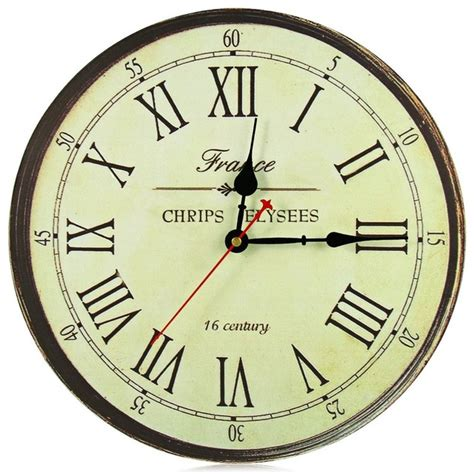 wholesale 34cm vintage silent round large wood kitchen wall clock large wall clock qiyue home decoration affton d wall clock