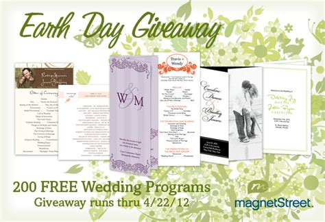 Earth Day Giveaway Ideas - earth day giveaway free wedding programstruly engaging wedding blog