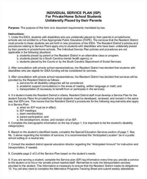 individual service plan template 9 service plan sles templates in pdf