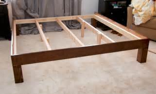 Bed Frame With Wood Legs Glitter And Goat Cheese Diy King Sized Wood Platform Bed