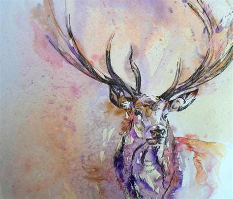 tattoo pen watercolor watercolour stag painting inspiration animals