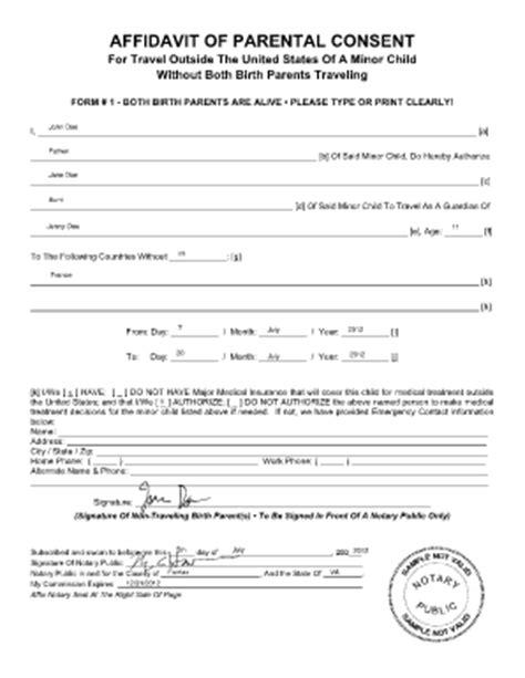 affidavit of parental consent for travel of a minor child
