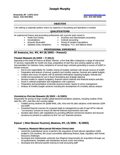 finance resume format experienced excellent objective qualifications for sle resume for