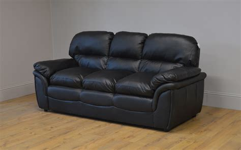 clearance leather sofas clearance rochester black leather 3 seater sofa t2615