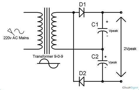 capacitor diode doubler voltage multiplier circuits voltage doubler voltage tripler voltage circuit diagrams