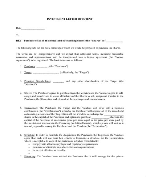 Investment Letter Of Intent Doc Sle Letter Of Intent 43 Exles In Pdf Word