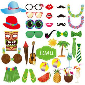 summer beach party 16 piece photo booth props printable 36pcs luau photo booth props hawaiian photobooth props