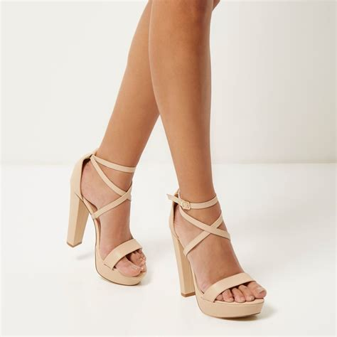 light pink shoes heels lyst river island light pink leather platform heels in pink