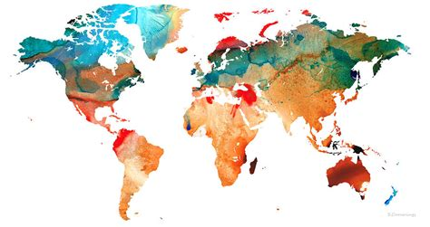 map   world  colorful abstract art painting