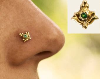 Handmade Nose Rings - handmade sunflower nose stud 14k yellow gold solid indian