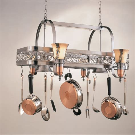 kitchen pot racks with lights hi lite manufacturing h 10y d 14 wht ody satin steel satin
