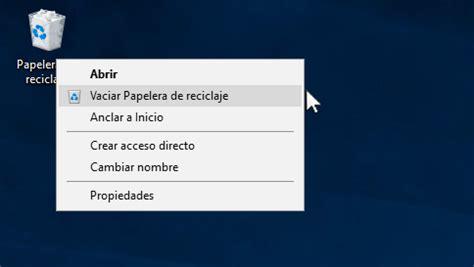 archivos temporales de imagenes vaciar la papelera de reciclaje en windows 10