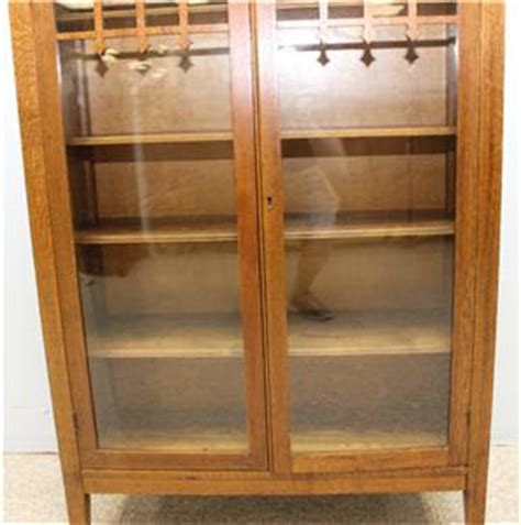 Mission Style Bookcase With Glass Doors Arts And Crafts Mission Oak Bookcase With Glass Doors Ebay