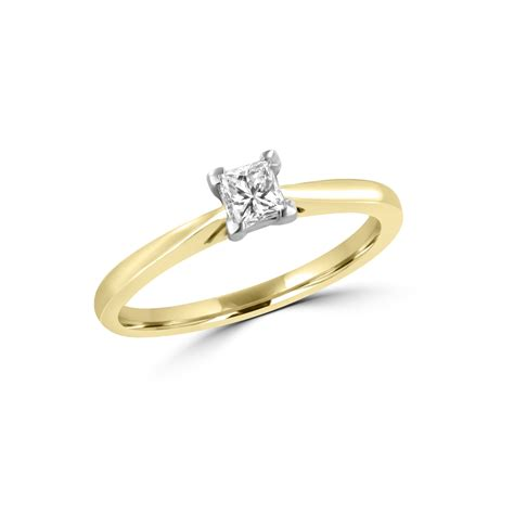 yellow gold ct princess diamond solitaire engagement ring womens