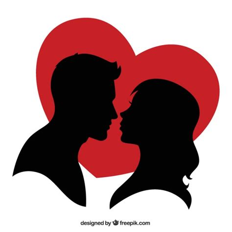 imagenes vectoriales gratis siluetas silueta de una pareja y un coraz 243 n rojo descargar