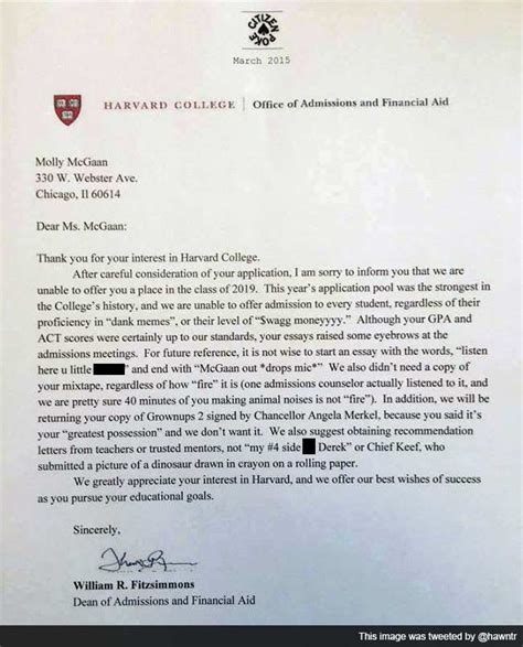 College Acceptance Letter 2015 Harvard Rejection Letter Memes