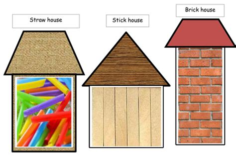 printable straw house collage template for the three little pig s houses by