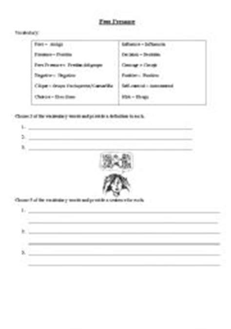 Peer Pressure Worksheets by Worksheets Peer Pressure Vocabulary