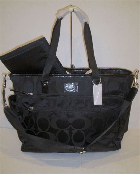 couch diaper bags auth coach signature nylon black baby diaper bag tote