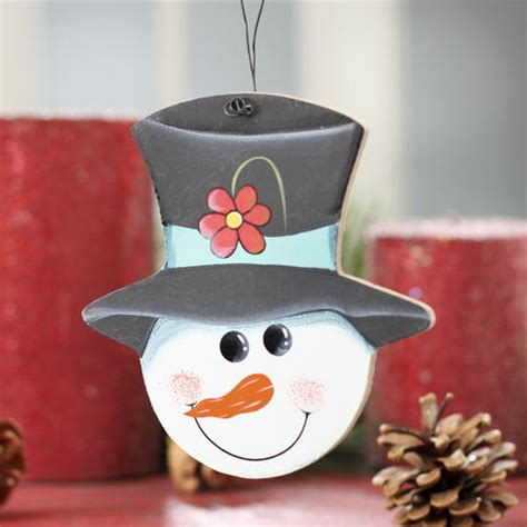 Home Decor Ornaments Snowman With Hat Wooden Ornament Signs Ornaments
