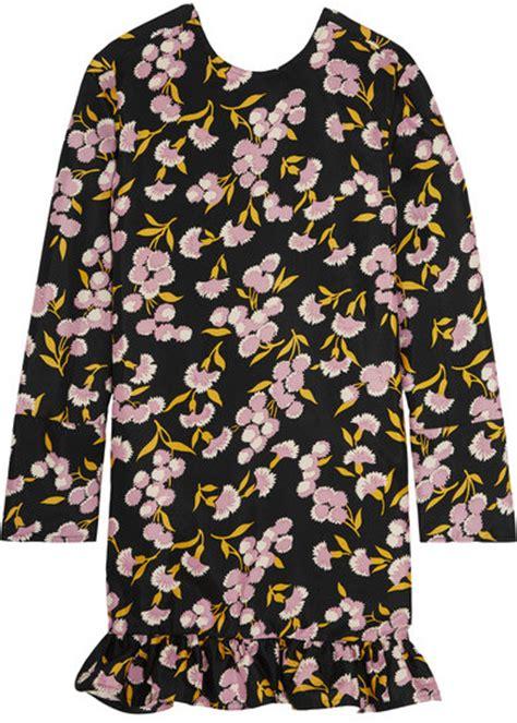 Dsjt217112824244 Mini Dress Lengan Ruffle Motif Floral marni ruffled floral print cotton and silk blend mini dress black shopstyle co uk