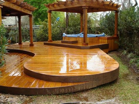 Backyard Wood Deck Ideas Landscaping And Outdoor Building Outside Wood Deck Ideas Curved Wood Deck Ideas With Tub