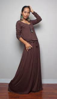 brown maxi dress chocolate brown long sleeve dress autumn