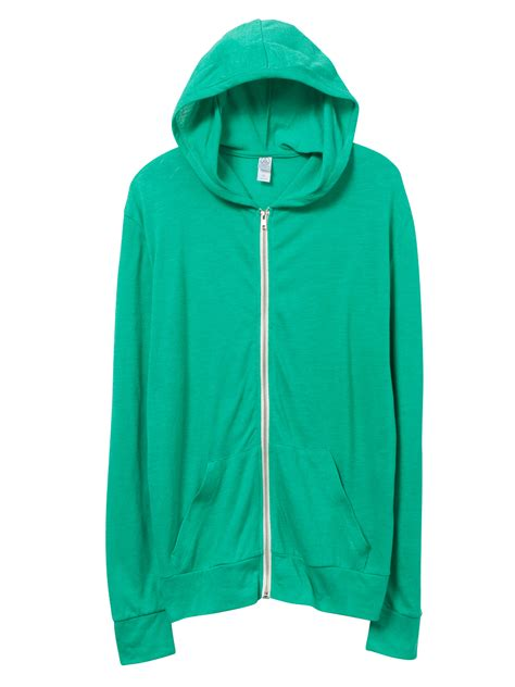 Hoodie Jaket Sweater Greenlight alternative apparel basic eco jersey zip hoodie in green for lyst