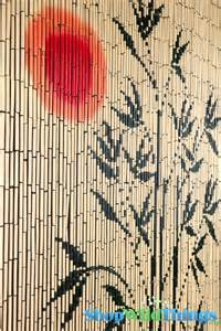 Beaded curtain red run with bamboo tree silouette bamboo forest scene