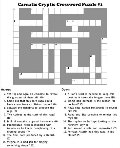 easy crossword puzzle questions and answers carnatic cryptic crossword puzzle 1 just thinking out