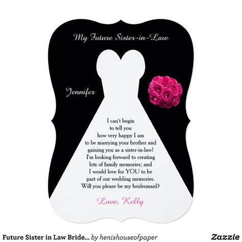 be my in future in bridesmaid poem request gown card