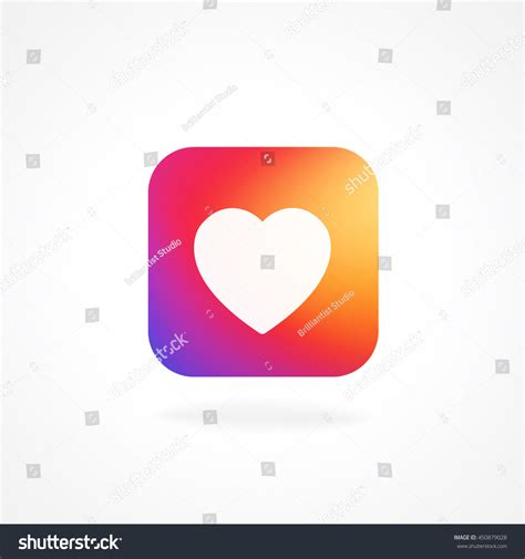heart layout app heart symbol app icon smooth color stock vector 450879028